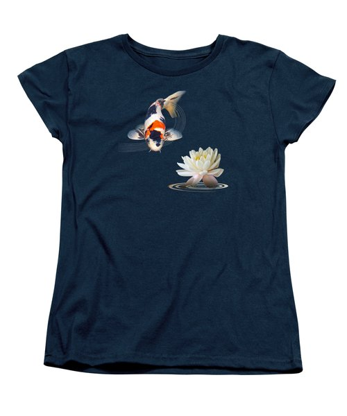 Koi Carp Abstract With Water Lily Square Women's T-Shirt (Standard Cut) by Gill Billington