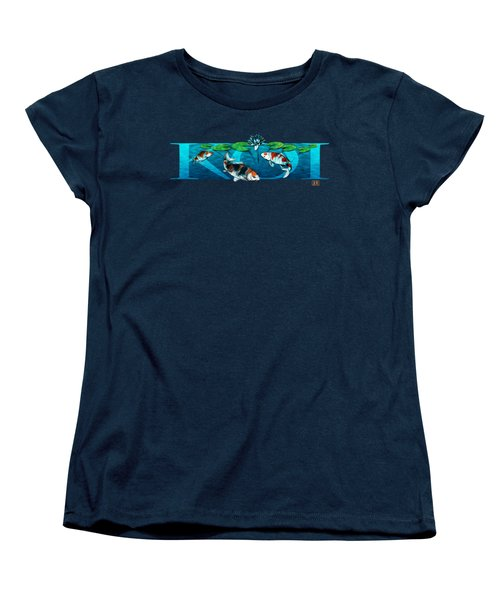 Koi With Type Women's T-Shirt (Standard Cut) by Rob Corsetti