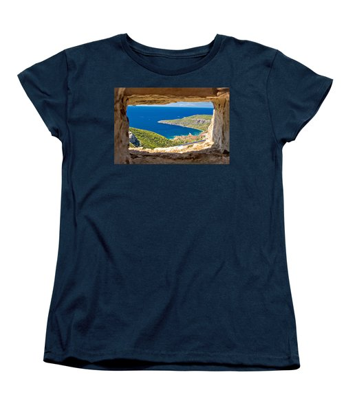 Komiza Bay Aerial View Through Stone Window Women's T-Shirt (Standard Cut) by Brch Photography
