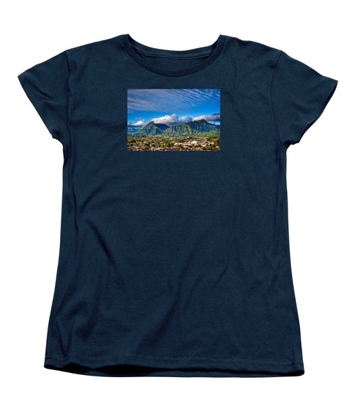 Women's T-Shirt (Standard Cut) featuring the photograph Koolau And Pali Lookout From Kanohe by Dan McManus
