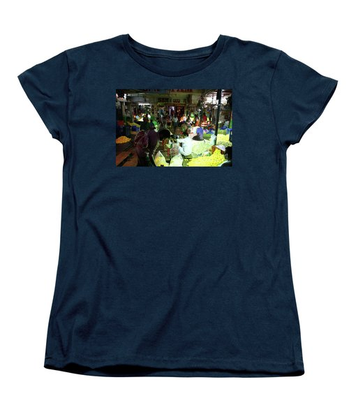 Women's T-Shirt (Standard Cut) featuring the photograph Koyambedu Flower Market Stalls by Mike Reid