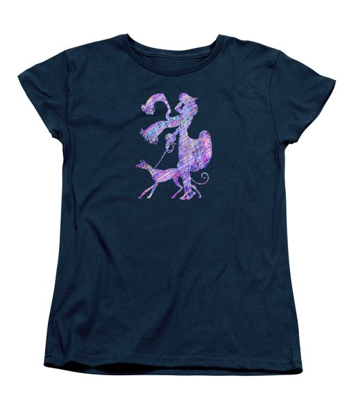 Lady Dog Walker Threads Transparent Background Women's T-Shirt (Standard Cut) by Barbara St Jean