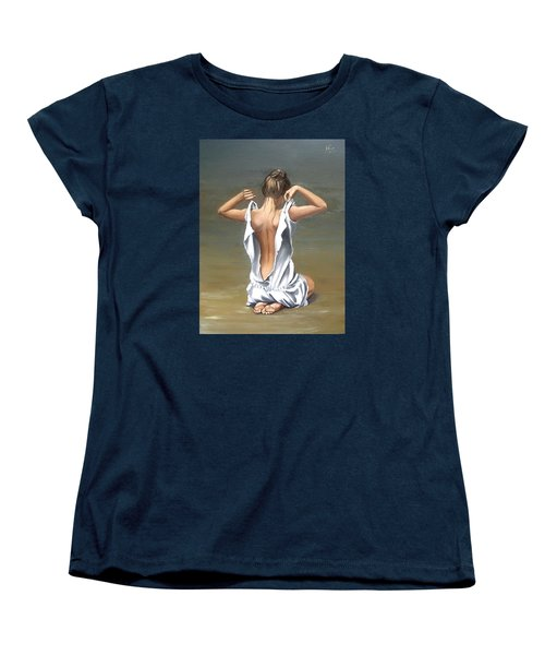 Women's T-Shirt (Standard Cut) featuring the painting Lady by Natalia Tejera