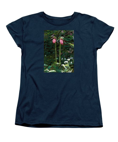 Women's T-Shirt (Standard Cut) featuring the painting Lady Slipper by Lynne Reichhart