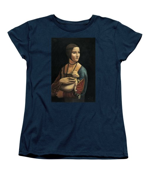 Lady With Ermine - Pastel Women's T-Shirt (Standard Cut) by Vishvesh Tadsare
