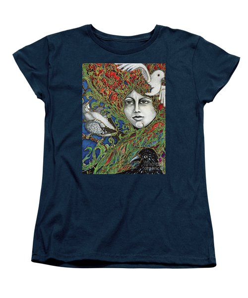 Women's T-Shirt (Standard Cut) featuring the painting Ladybird by Rae Chichilnitsky
