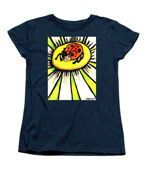 Women's T-Shirt (Standard Cut) featuring the painting Ladybug On A Flower by Patricia L Davidson