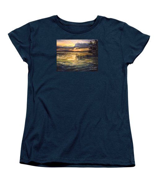 Women's T-Shirt (Standard Cut) featuring the painting Lake by Arturas Slapsys