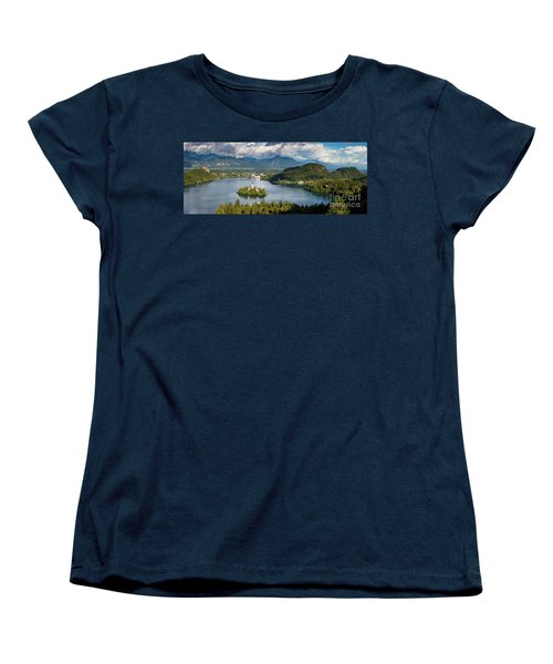 Women's T-Shirt (Standard Cut) featuring the photograph Lake Bled Pano by Brian Jannsen