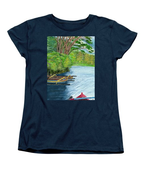 Women's T-Shirt (Standard Cut) featuring the painting Lake Bratan Boats Bali Indonesia by Melly Terpening