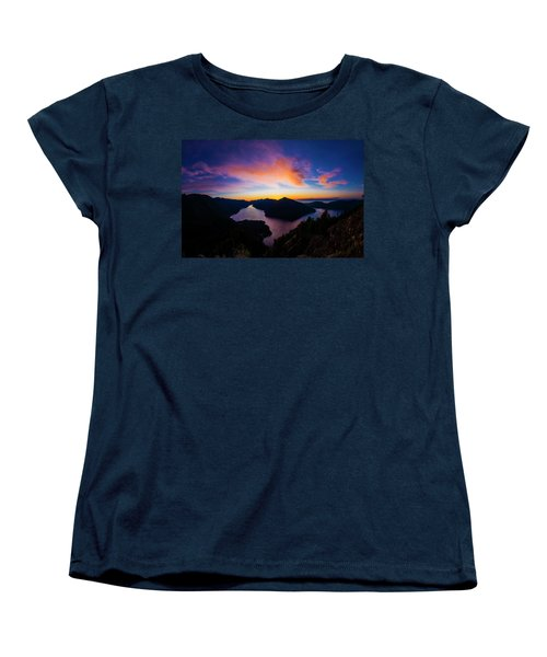 Lake Crescent Sunset Women's T-Shirt (Standard Cut) by Pelo Blanco Photo