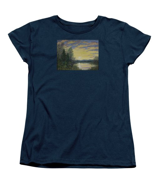 Women's T-Shirt (Standard Cut) featuring the painting Lake Dawn by Kathleen McDermott