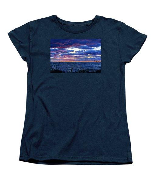 Lake Michigan Windy Sunrise Women's T-Shirt (Standard Cut) by Joni Eskridge