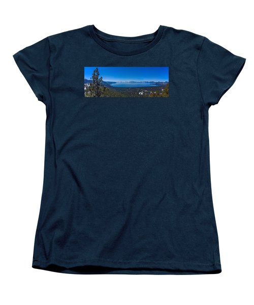 Women's T-Shirt (Standard Cut) featuring the photograph Lake Tahoe Spring Overlook Panoramic by Scott McGuire
