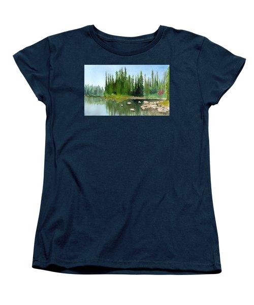 Women's T-Shirt (Standard Cut) featuring the painting Lake View 1 by Yoshiko Mishina