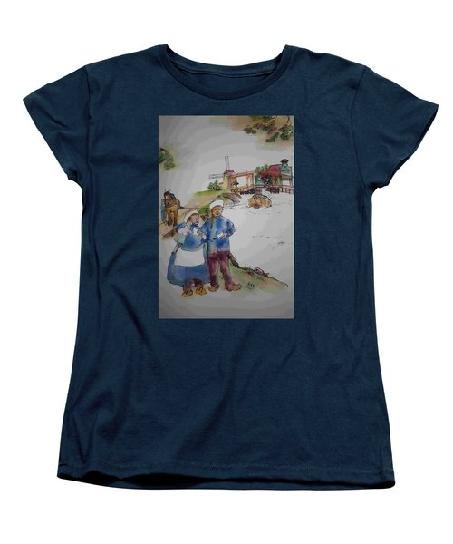 Land Of Windmill Clogs  And Tulips Album Women's T-Shirt (Standard Cut) by Debbi Saccomanno Chan