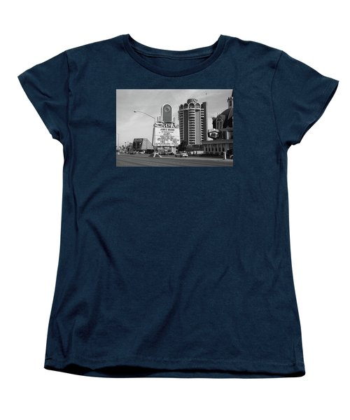 Women's T-Shirt (Standard Cut) featuring the photograph Las Vegas 1994 #1 Bw by Frank Romeo
