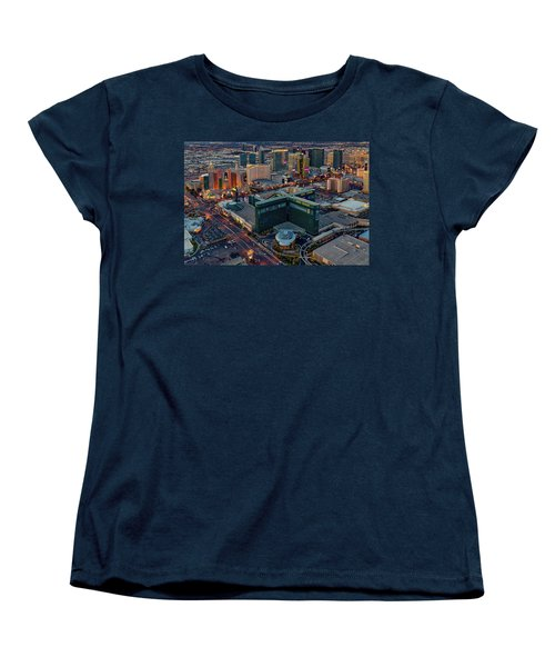 Women's T-Shirt (Standard Cut) featuring the photograph Las Vegas Nv Strip Aerial by Susan Candelario