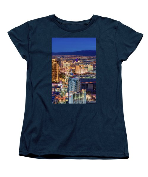 Women's T-Shirt (Standard Cut) featuring the photograph Las Vegas Strip From The Stratosphere Tower by Aloha Art