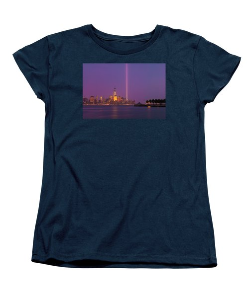 Laser Twin Towers In New York City Women's T-Shirt (Standard Cut) by Ranjay Mitra