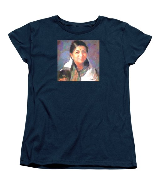 Women's T-Shirt (Standard Cut) featuring the painting Lata Mangeshkar  by Wayne Pascall