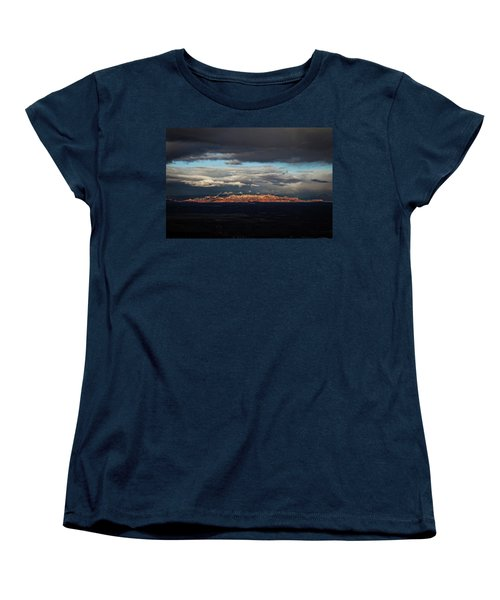 Women's T-Shirt (Standard Cut) featuring the photograph Late Light On Red Rocks With Storm Clouds by Ron Chilston