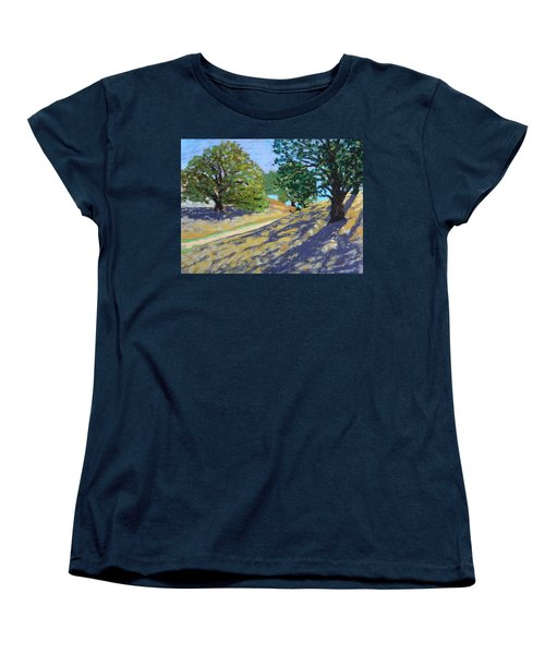 Women's T-Shirt (Standard Cut) featuring the painting Late Light's Shadows by Gary Coleman