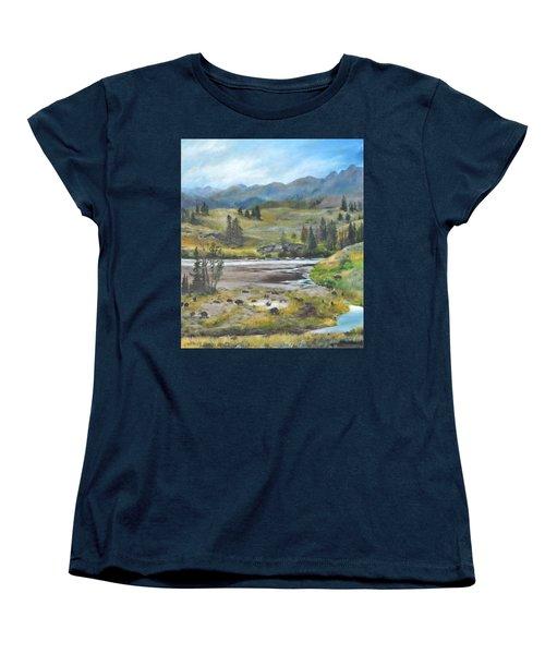 Late Summer In Yellowstone Women's T-Shirt (Standard Cut) by Lori Brackett