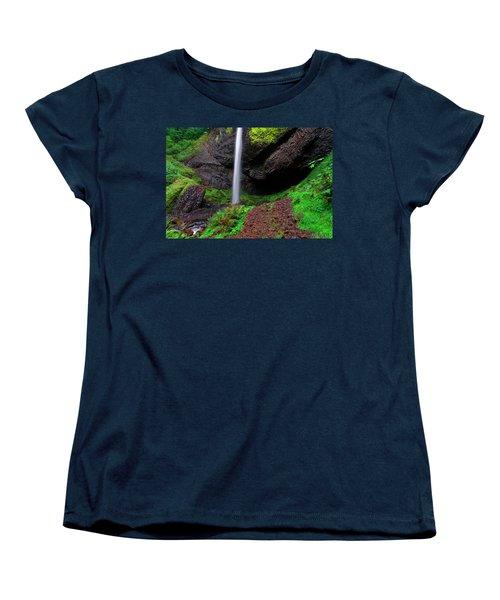 Women's T-Shirt (Standard Cut) featuring the photograph Latourell Falls Oregon by Jonathan Davison