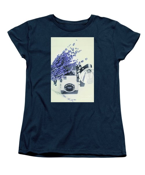 Lavender And Kodak Brownie Camera Women's T-Shirt (Standard Cut) by Stephanie Frey