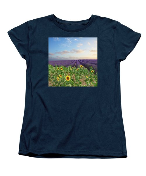 Lavender And Sunflower Flowers Field Women's T-Shirt (Standard Cut) by Anastasy Yarmolovich