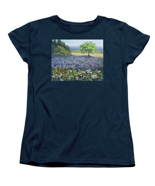 Women's T-Shirt (Standard Cut) featuring the painting Lavender And Wildflowers by Karen Ilari