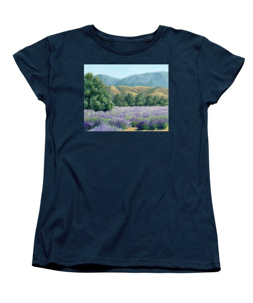 Lavender, Blue And Gold Women's T-Shirt (Standard Cut) by Sandy Fisher