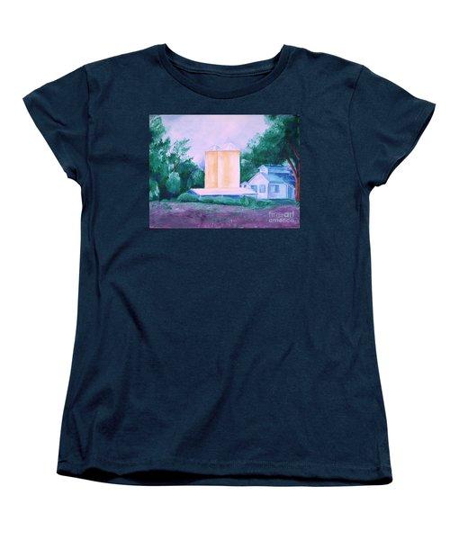 Women's T-Shirt (Standard Cut) featuring the painting Lavender Farm Albuquerque by Eric  Schiabor