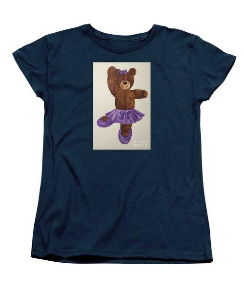 Women's T-Shirt (Standard Cut) featuring the painting Leah's Ballerina Bear 1 by Tamir Barkan