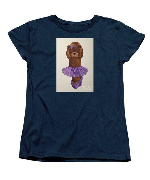 Women's T-Shirt (Standard Cut) featuring the painting Leah's Ballerina Bear 3 by Tamir Barkan