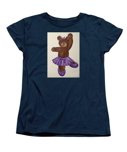 Women's T-Shirt (Standard Cut) featuring the painting Leah's Ballerina Bear 5 by Tamir Barkan