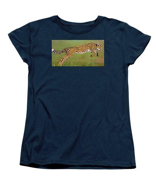 Leaping Cheetah Women's T-Shirt (Standard Cut) by Ann Michelle Swadener