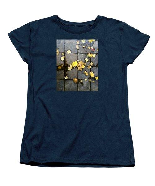 Leaves On Slate Women's T-Shirt (Standard Cut) by Suzanne Lorenz