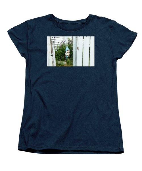 Leprechaun Munching Chives Women's T-Shirt (Standard Cut) by Daniel Hebard