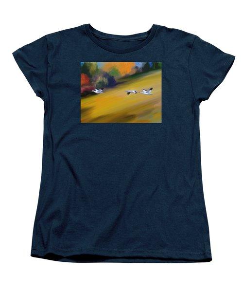 Les Oies Blanches  Women's T-Shirt (Standard Cut) by Aline Halle-Gilbert