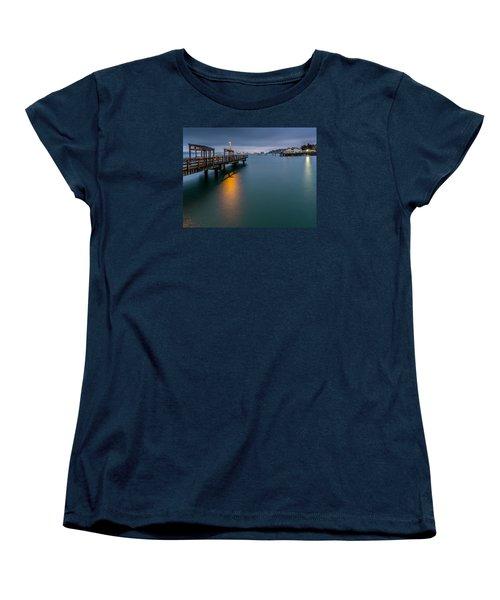 Less Davis Pier Commencement Bay Women's T-Shirt (Standard Cut) by Rob Green
