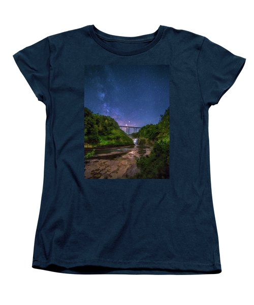 Women's T-Shirt (Standard Cut) featuring the photograph Letchworth At Night by Mark Papke
