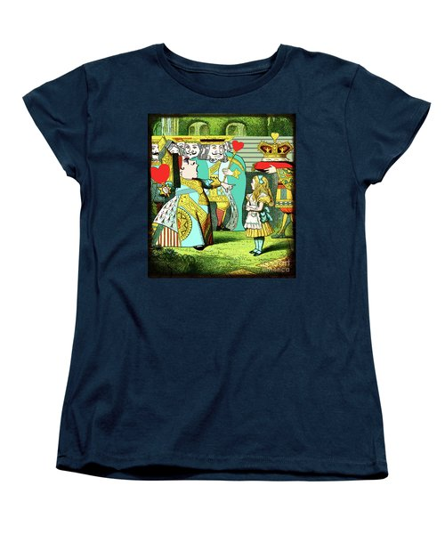 Lewis Carrolls Alice, Red Queen And Cards Women's T-Shirt (Standard Cut) by Marian Cates