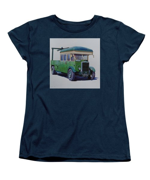 Women's T-Shirt (Standard Cut) featuring the painting Leyland Southdown Wrecker. by Mike Jeffries