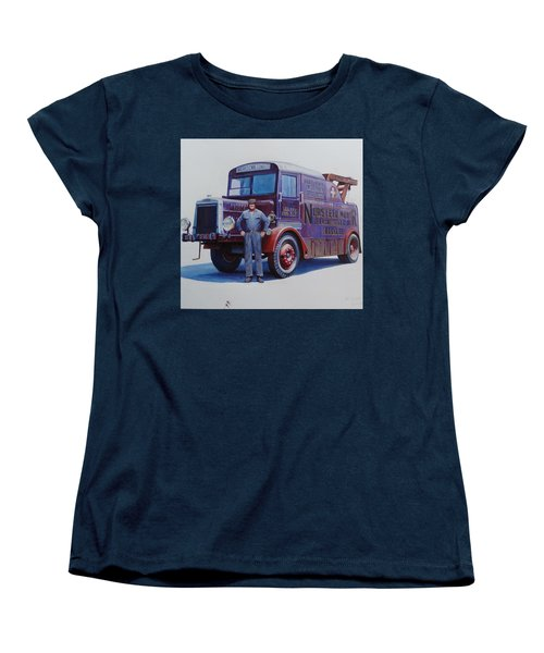 Women's T-Shirt (Standard Cut) featuring the painting Leyland Wrecker 1930. by Mike  Jeffries