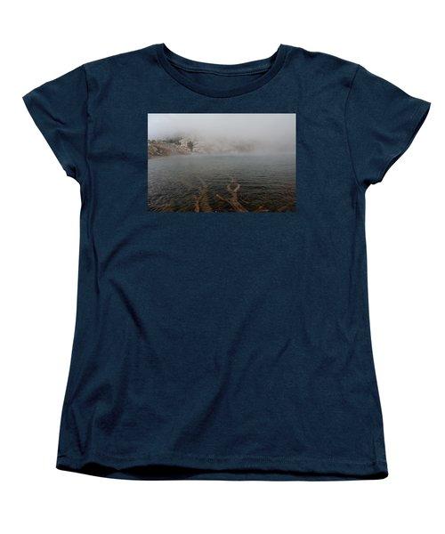 Women's T-Shirt (Standard Cut) featuring the photograph Liberty Lake In Fog by Jenessa Rahn