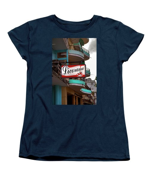 Women's T-Shirt (Standard Cut) featuring the photograph Licorama Bar Liquor Store In Havana Cuba At Calle 6 by Charles Harden