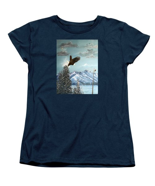 Women's T-Shirt (Standard Cut) featuring the painting Lift Off by Al  Johannessen