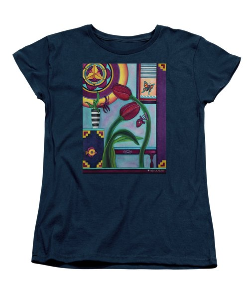 Women's T-Shirt (Standard Cut) featuring the painting Lifting And Loving Each Other by Lori Miller